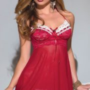 Red Lace and Mesh Babydoll With Matching G-String